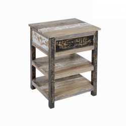 Table De Chevet 1 Tiroir + 2 Etageres en Bois Decape (L.54Xl.46Xh.69cm) MILA