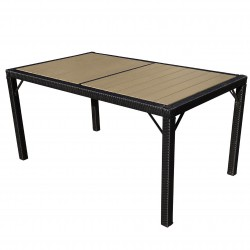 TABLE DE JARDIN 6 PLACES SALLY - PLASTIQUE GRIS NOIR L.190CM