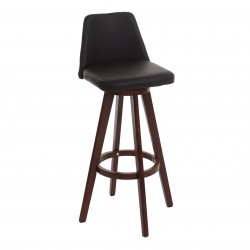 TABOURET DE BAR ROTATIF LORENZO - CUIR SYNTHÉTIQUE MARRON H.97CM