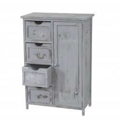 COMMODE 1 PORTE + 4 TIROIRS GUILLERMO - BOIS GRIS