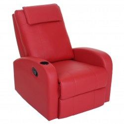 FAUTEUIL DE RELAXATION INCLINABLE MORRISON - CUIR SYNTHÉTIQUE ROUGE