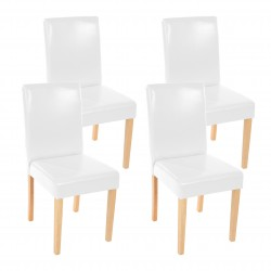 CHAISE MELVILLE X4 - CUIR SYNTHÉTIQUE BLANC PIEDS CLAIRS