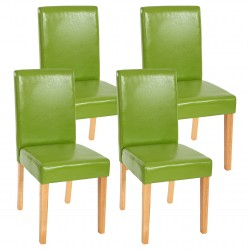 CHAISE MELVILLE X4 - CUIR SYNTHÉTIQUE VERT PIEDS CLAIRS