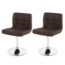 CHAISE PIVOTANTE ELEANOR X2 - CUIR SYNTHÉTIQUE MARRON