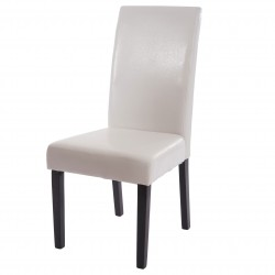 CHAISE BETSY X2 - CUIR SYNTHÉTIQUE BLANC PIEDS FONCES