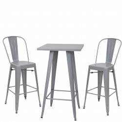 ENSEMBLE TABLE MANGE-DEBOUT + 2 TABOURETS DE BAR INDUS. JOHNS - MÉTAL GRIS