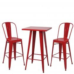 ENSEMBLE TABLE MANGE-DEBOUT + 2 TABOURETS DE BAR INDUS. JOHNS - MÉTAL ROUGE