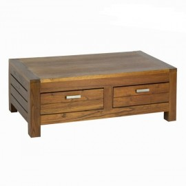 Table basse Chicago en bois de mindi 2 tiroirs