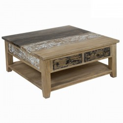 Table Basse 4 Tiroirs en Bois Decape (L.100Xl.100Xh.45cm) MILA
