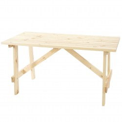 TABLE DE JARDIN 6 PLACES FRANZ - BOIS NATUREL L.148CM