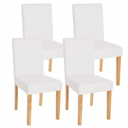 CHAISE MELVILLE X4 - CUIR SYNTHÉTIQUE BLANC MAT PIEDS CLAIRS