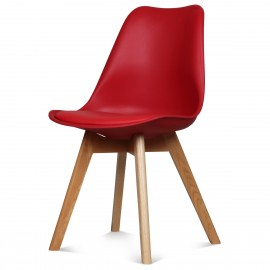 Chaise Scandinave Rouge ASTA x2